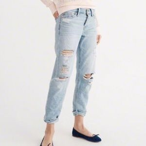 A&F Distressed/Ripped Boyfriend Button Fly Jeans